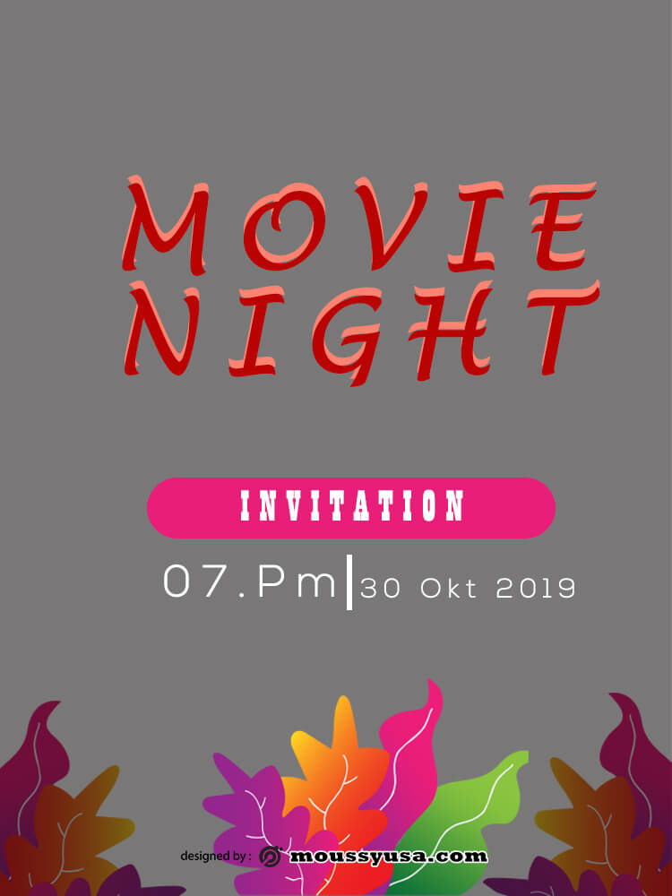 Sample Movie Night Invitation Template
