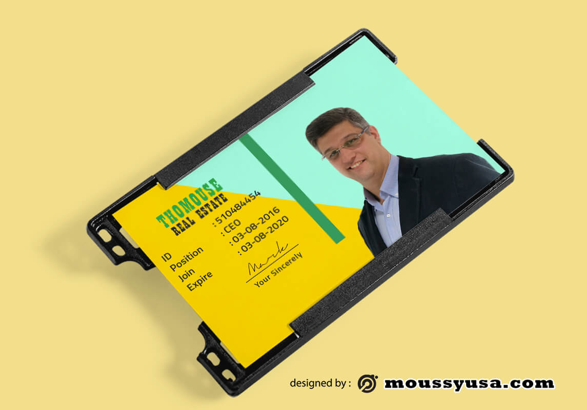 Sample Real Estate ID Card Template