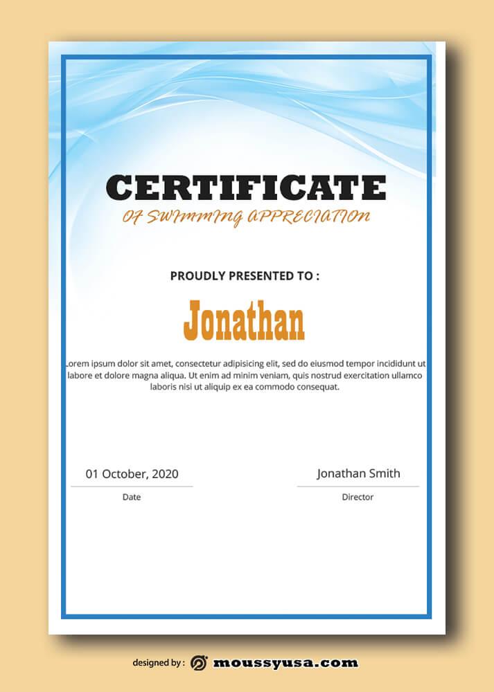 Sample Swimming Certificate Template