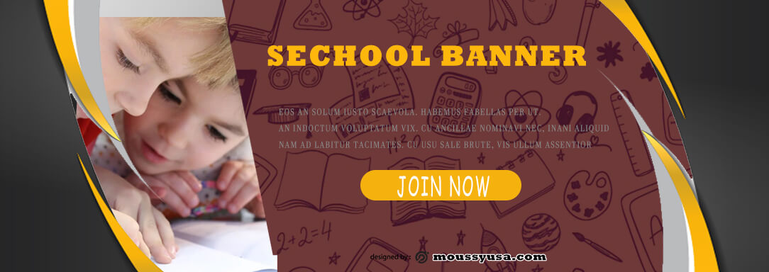 School Banner PSD Template For