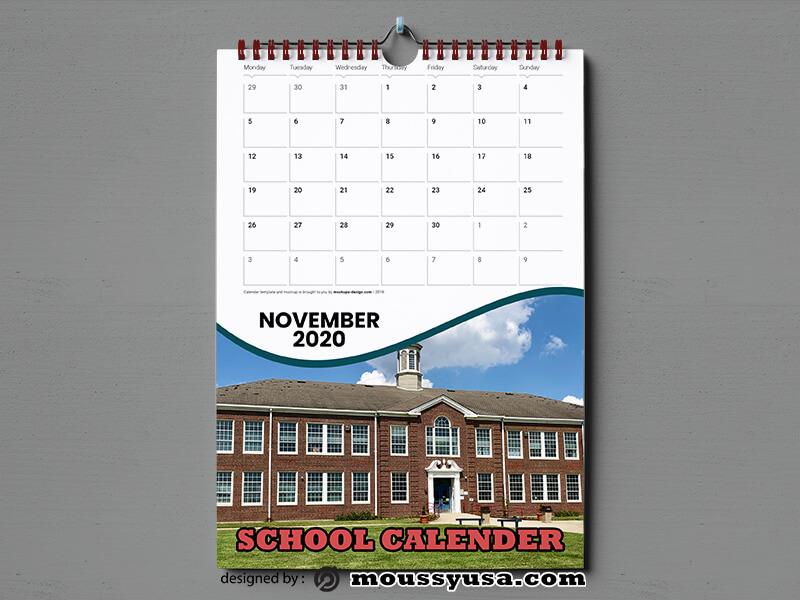 School Calender Template Design