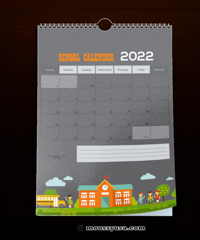 School Calender Template Example