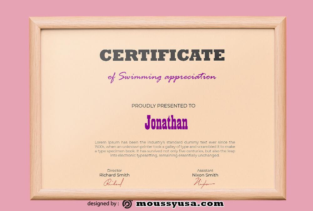 Swimming Certificate Template Ideas