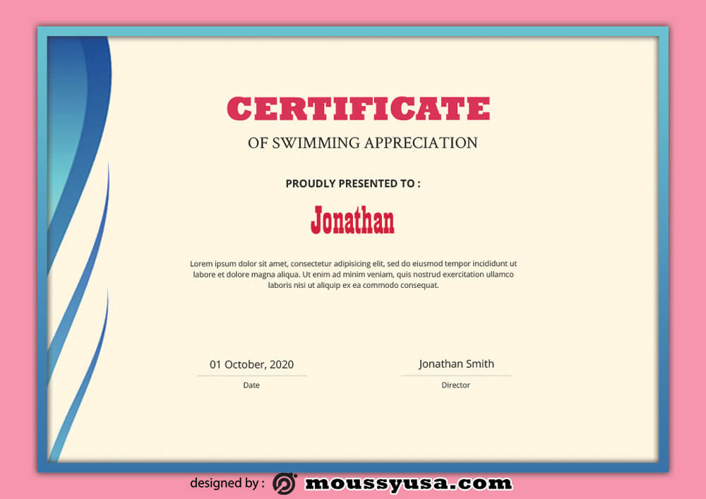 Swimming Certificate Template Sample