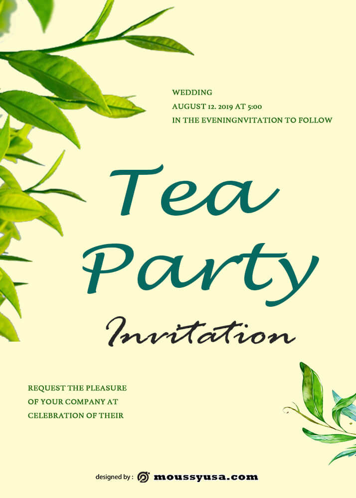 Tea Party Invitation Design PSD