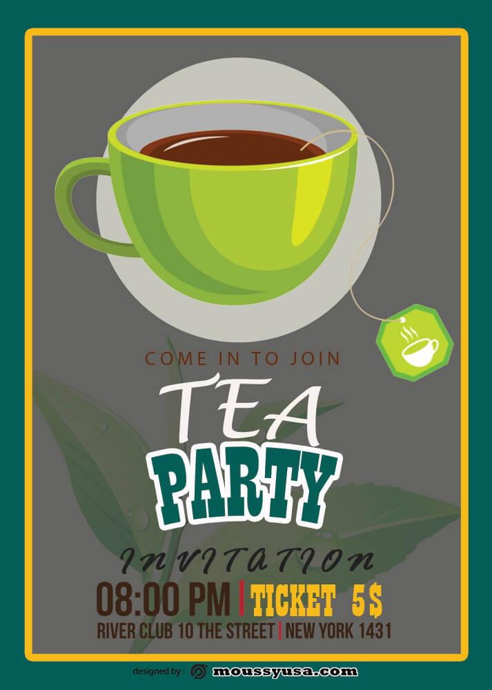 Tea Party Invitation Design Template