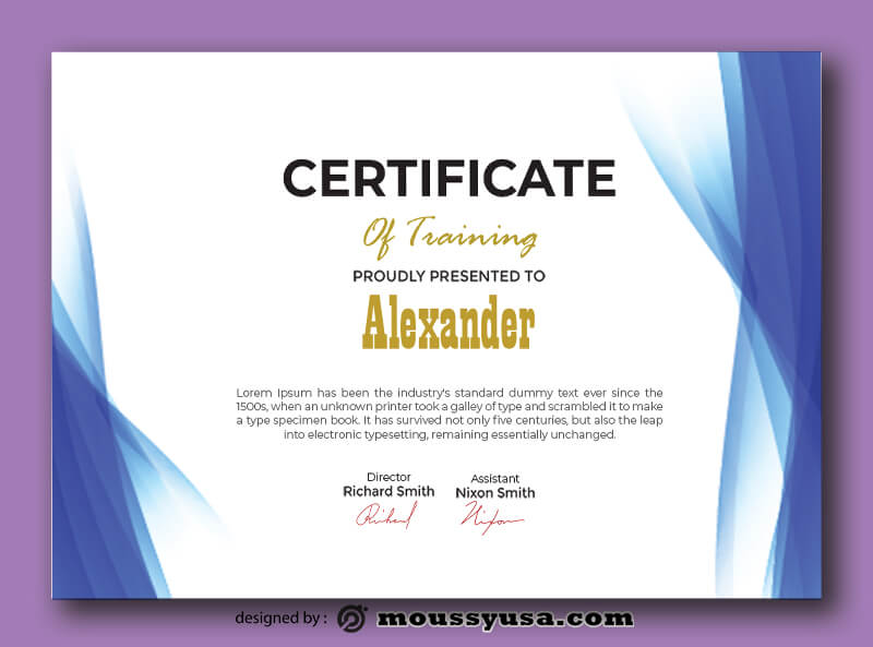 Training Certificate Template Design