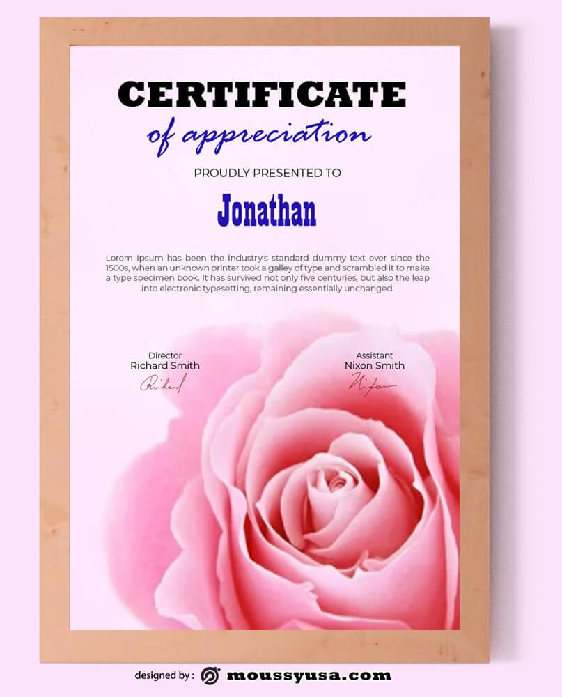 Wedding Certificate Design PSD