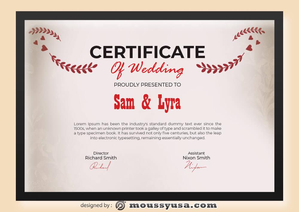 Wedding Certificate Template Example