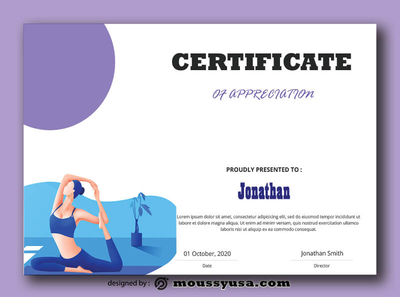 Yoga Certificate Template Design