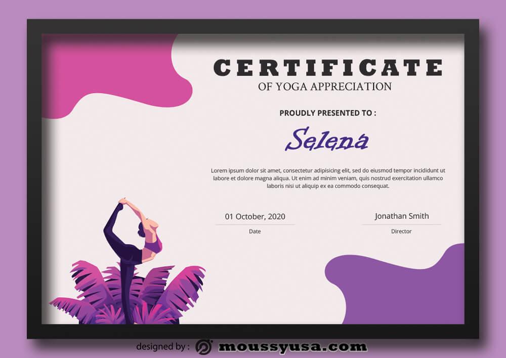Yoga Certificate Template Ideas