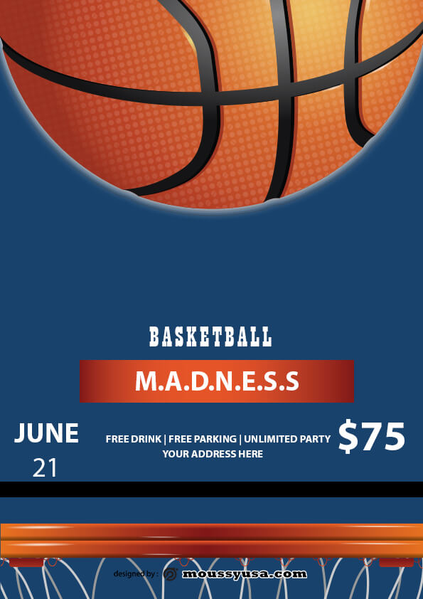 basketball madness flyer template design