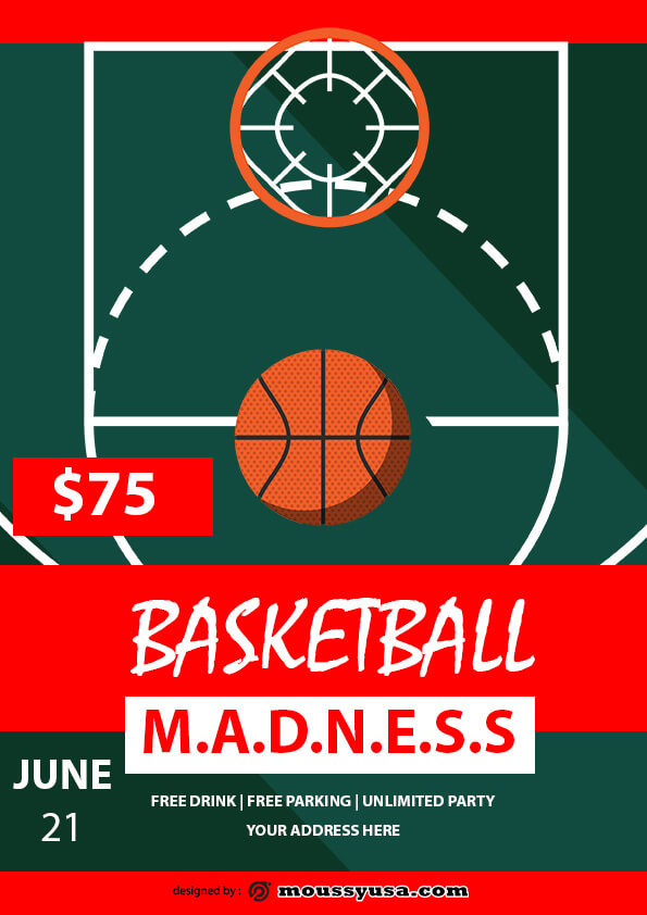 basketball madness flyer template sample