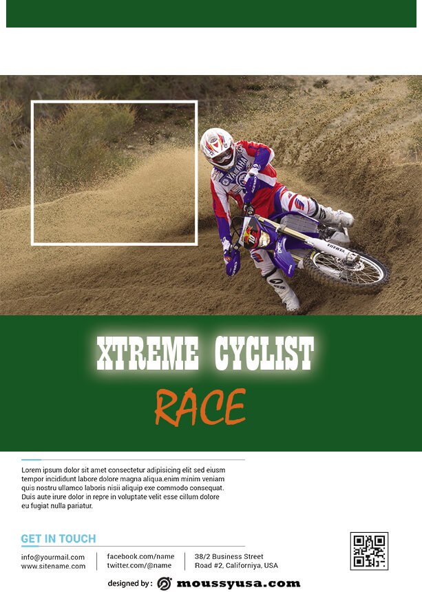 bicyle racing flyer template sample