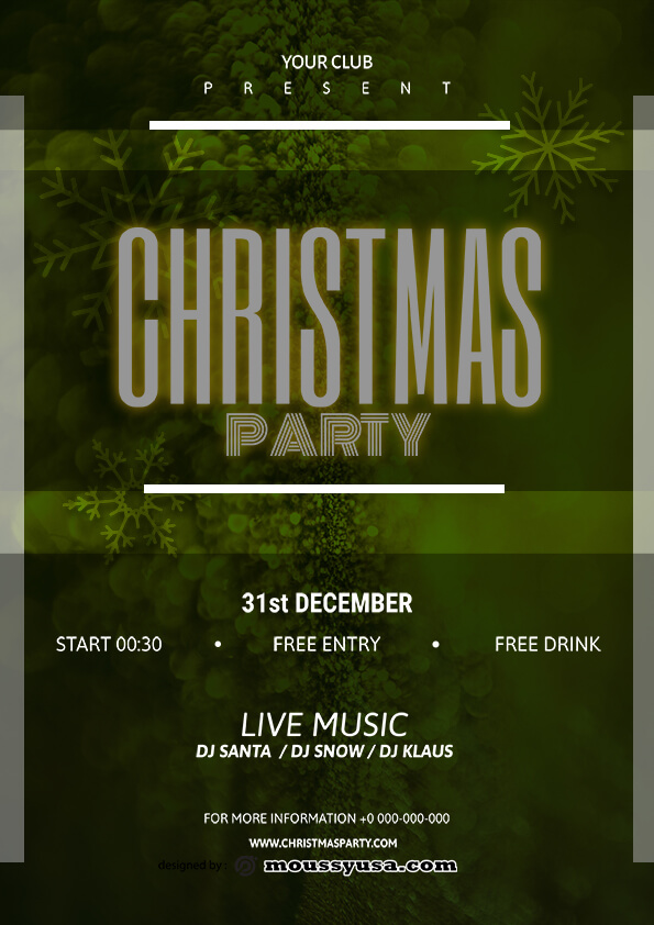 christmas party flyer template sample