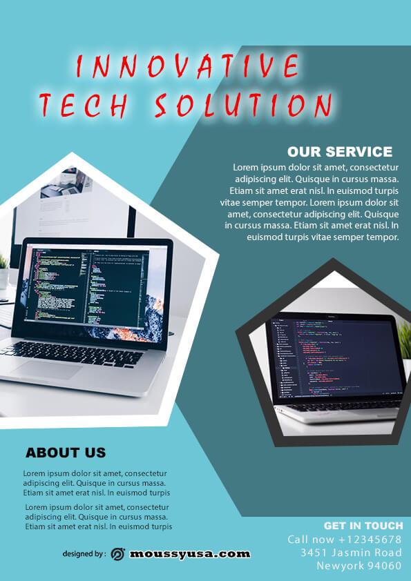 computer service flyer template design