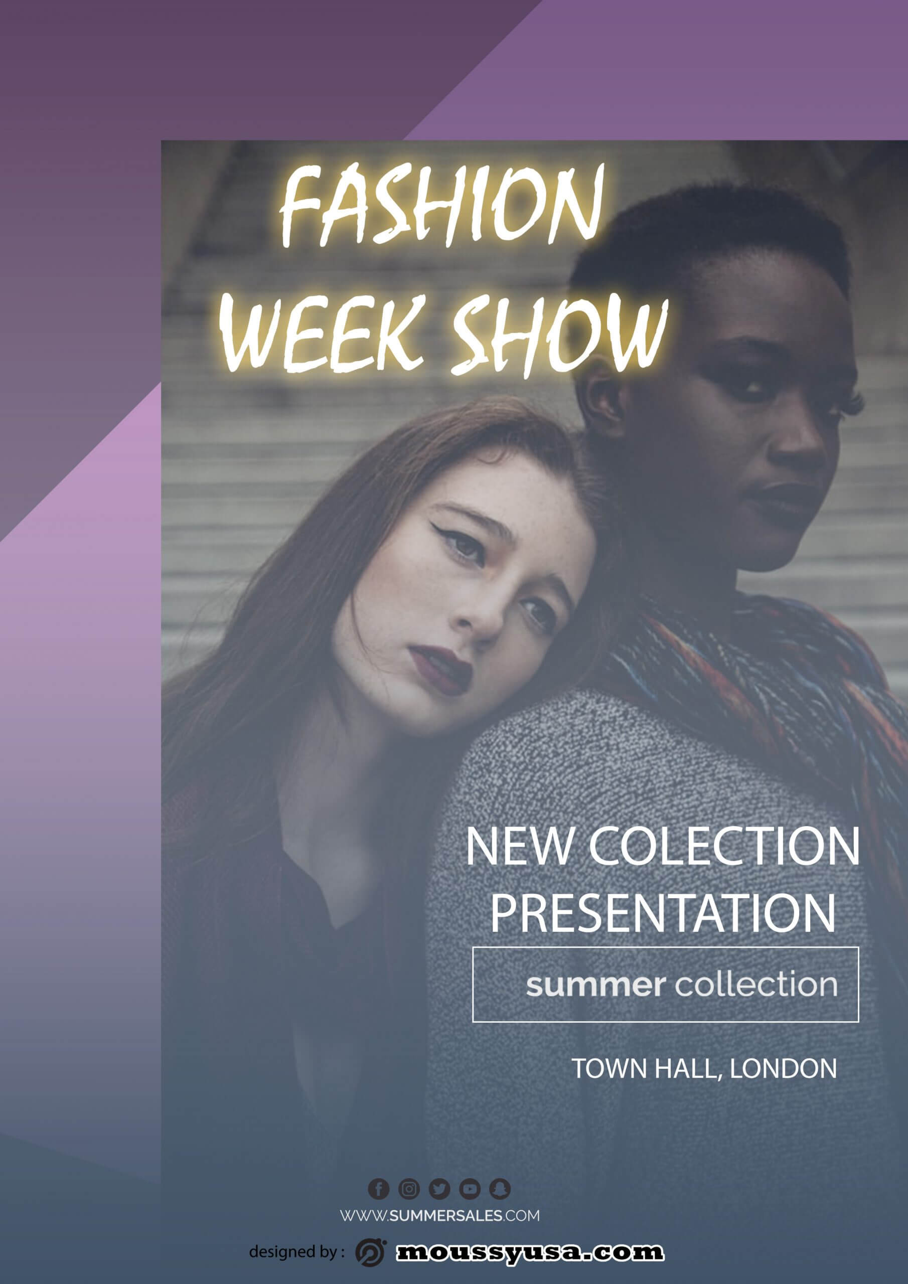 fashion week show flyer template design
