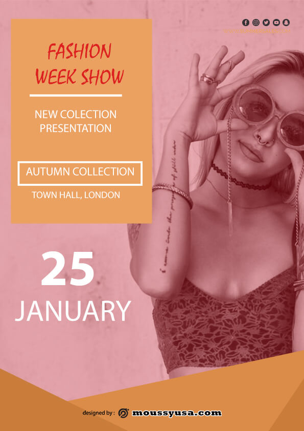 fashion week show flyer template sample