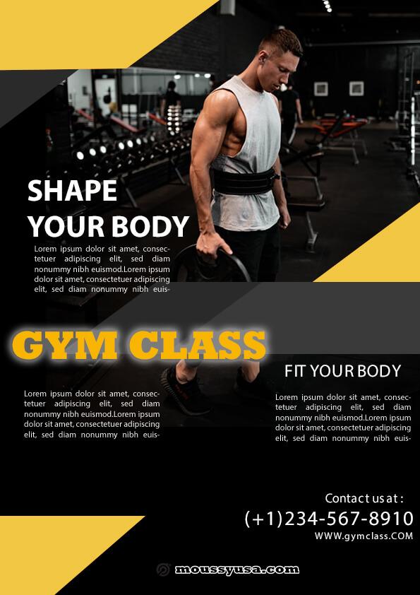 fitness class flyer template sample