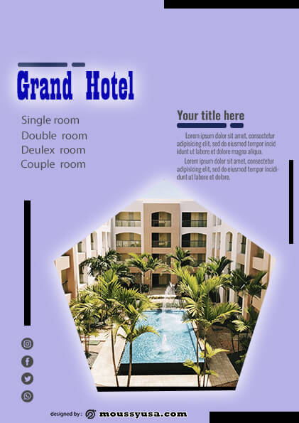 grand hotel flyer template design