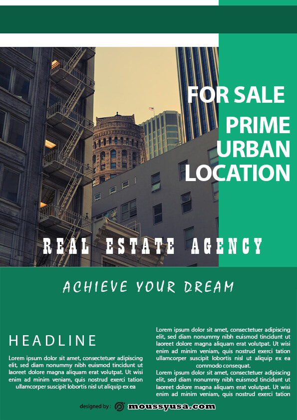 minimal real estate flyer template design