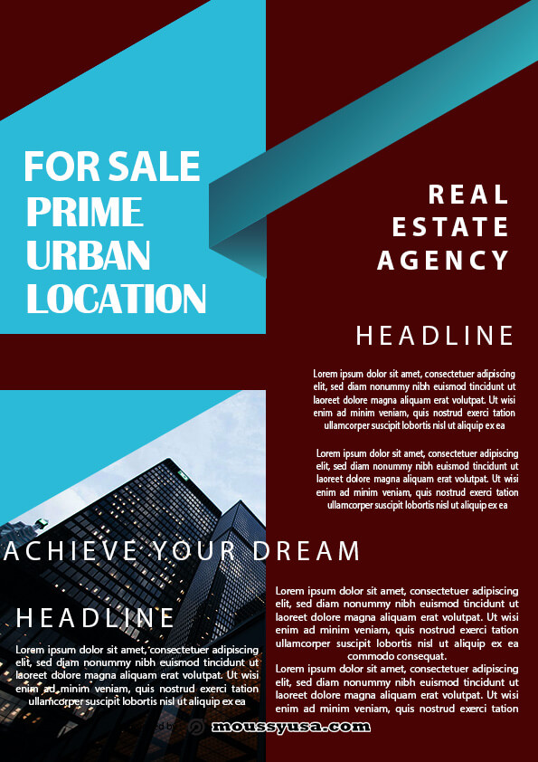 minimal real estate flyer template sample