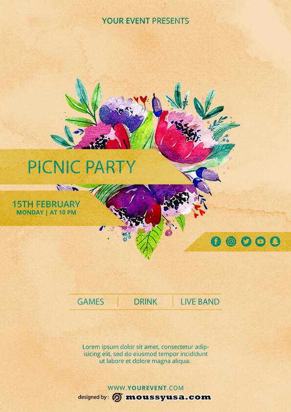 picnic flayer template design