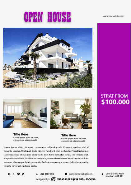 psd Elegant Open House Flyer template