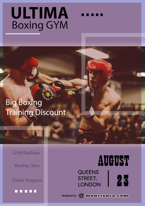 psd flyer template for Boxing GYM