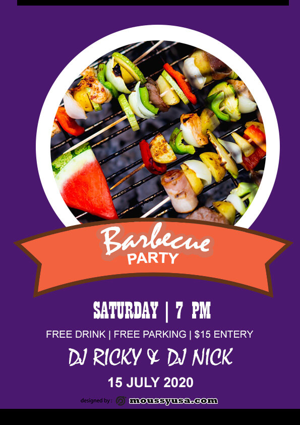 psd flyer template for Free BBQ