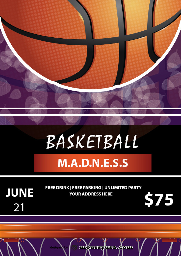 psd flyer template for basketball madness