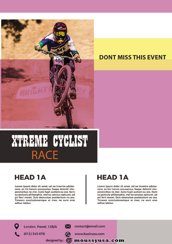 psd flyer template for bicyle racing
