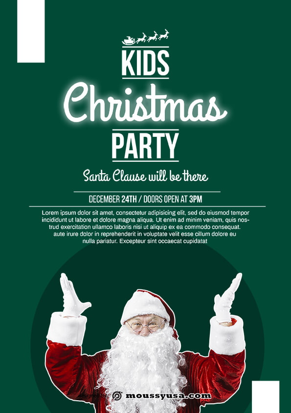 psd flyer template for christmas party