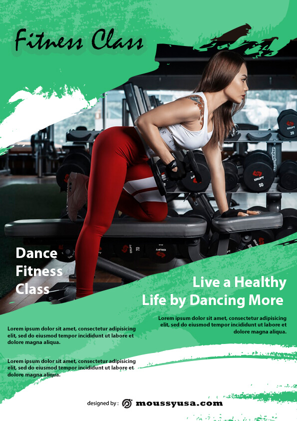 psd flyer template for fitness class