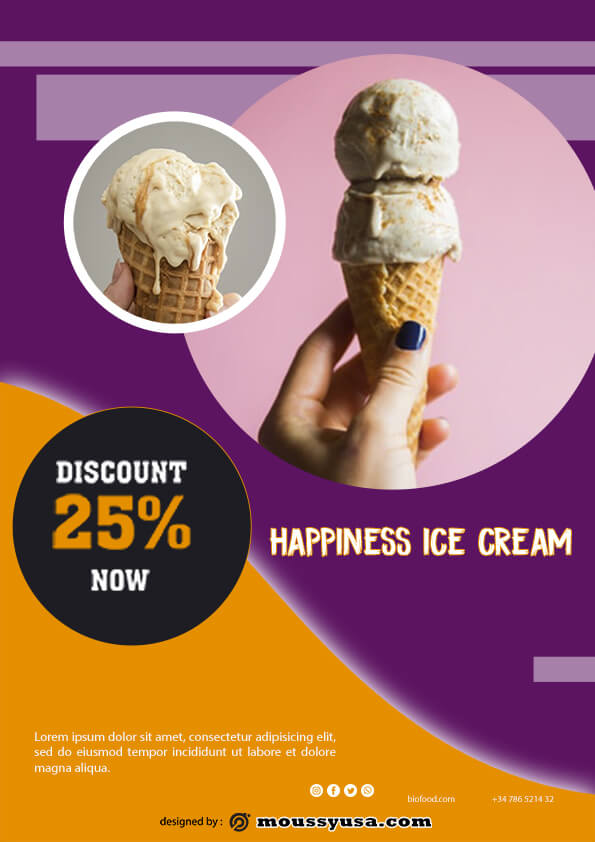 psd flyer template for ice cream