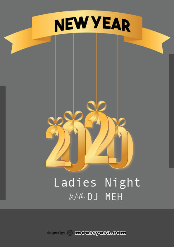 psd flyer template for new year