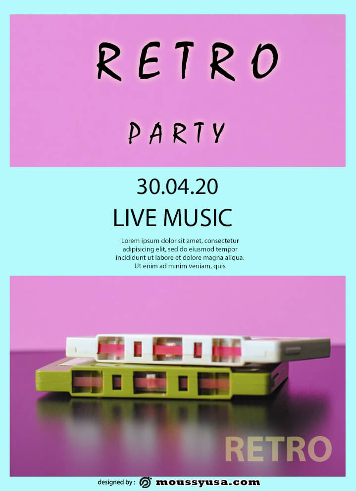 psd flyer template for retro party