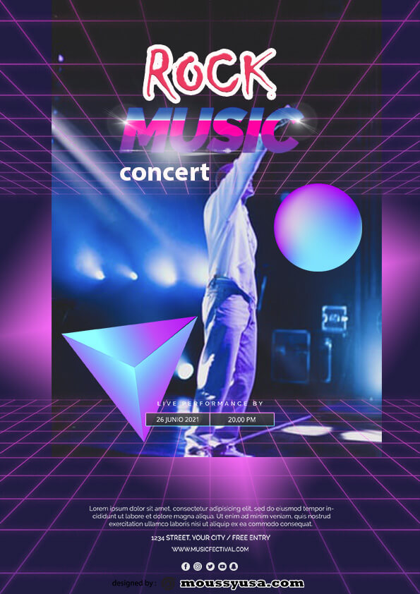 psd flyer template for rock concert