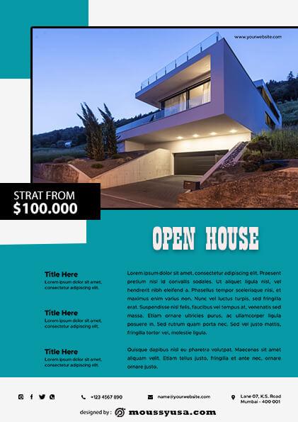 psd template for Elegant Open House Flyer
