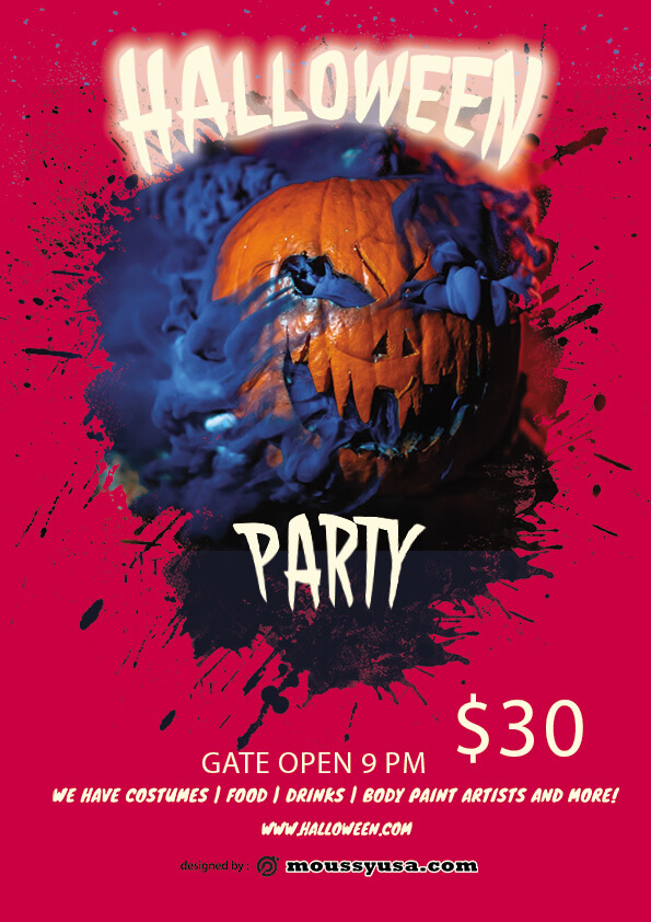 psd template for Free Halloween Skull Flyer