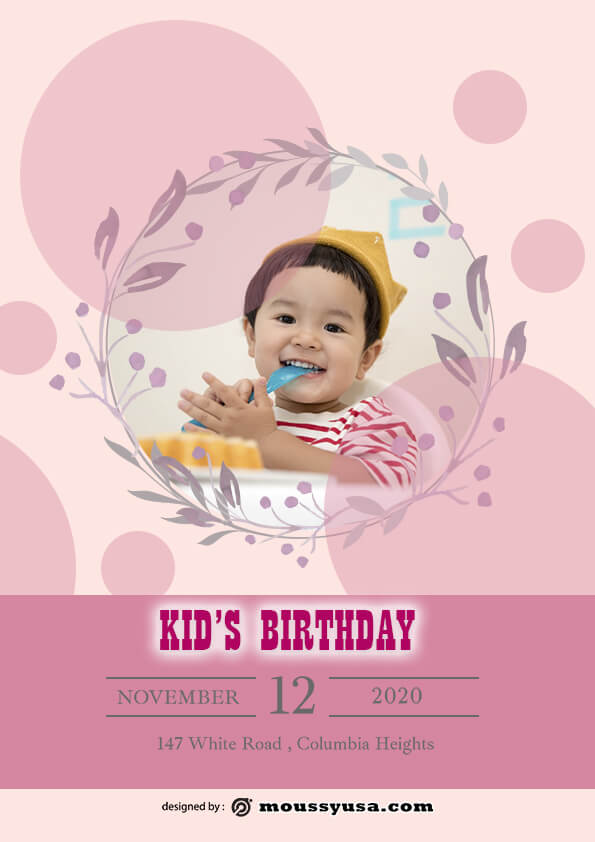 psd template for Free Kids Birthday Party Flyer