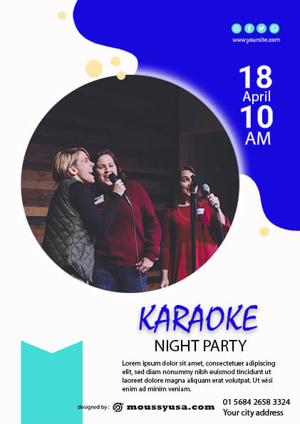 psd template for Karaoke Party Flyer