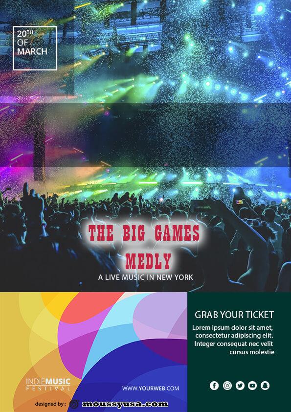 psd template for Live Music Festival Flyer