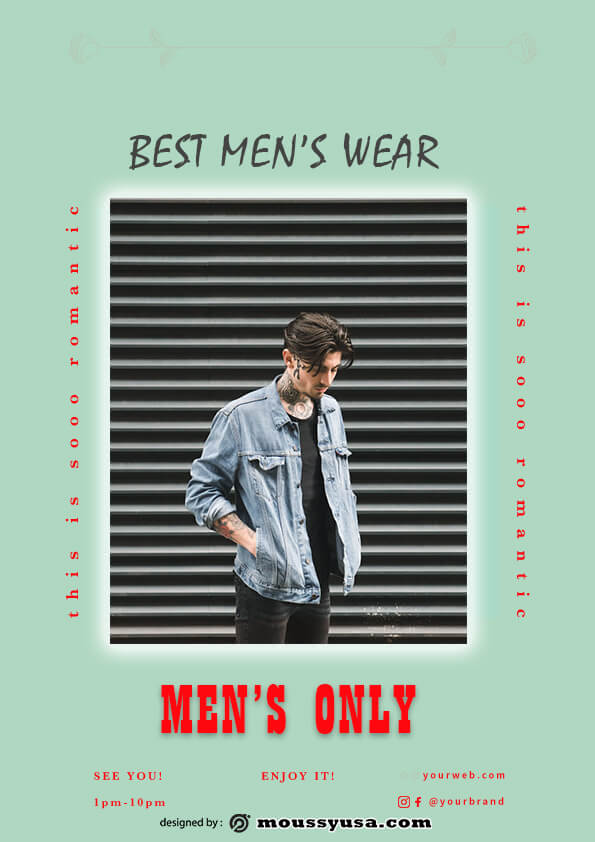 psd template for Mens Wear Flyer