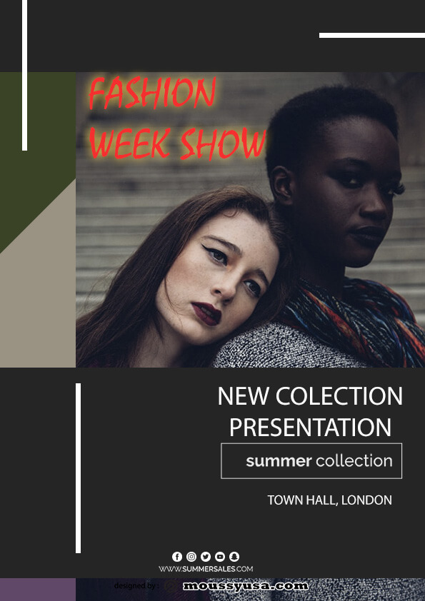 psd template for fashion week show flyer