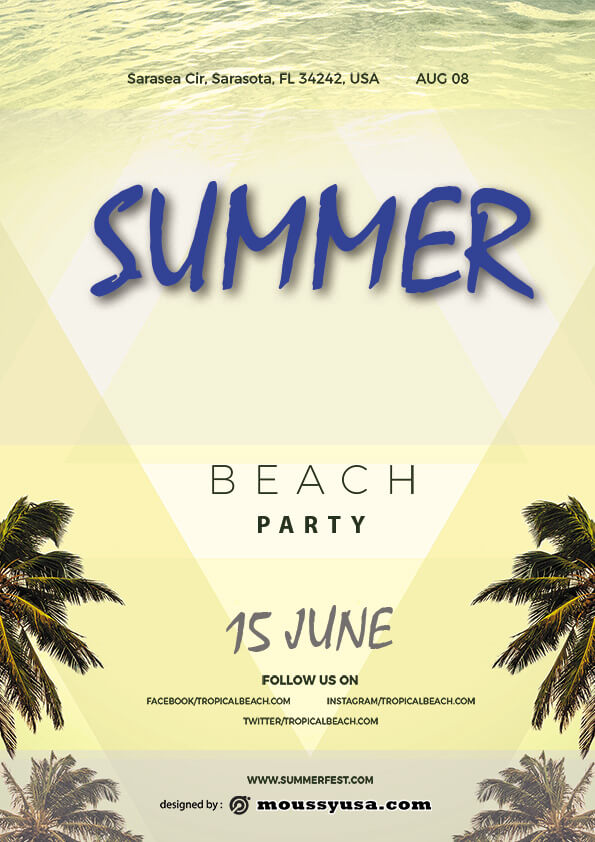 psd template for summer beach party