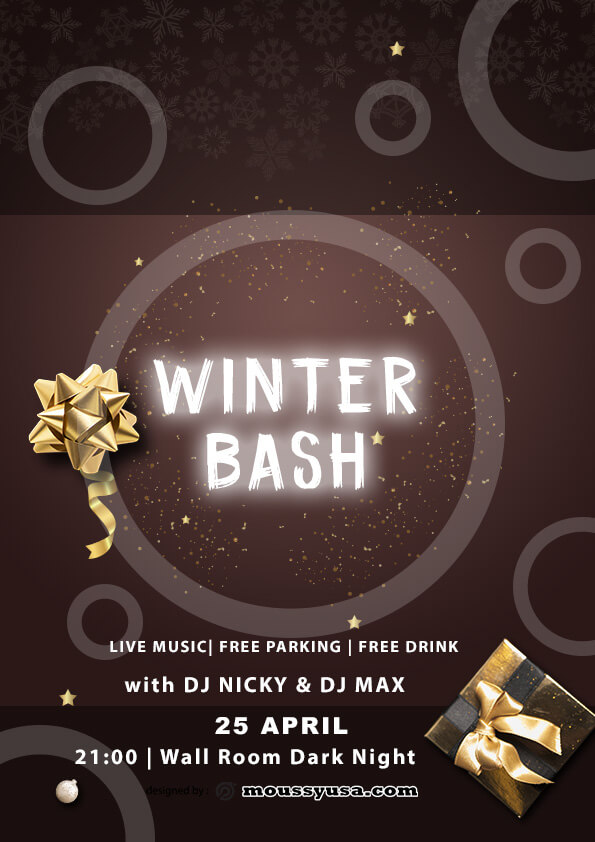 psd template for winter bash