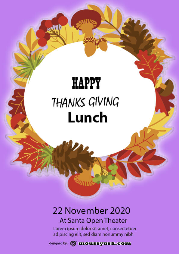 psd thanks giving lunch flyer template