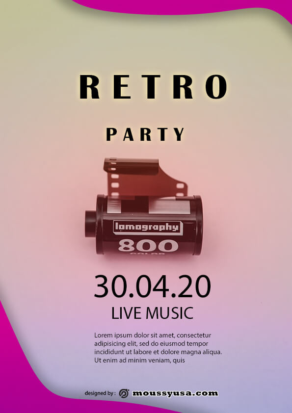retro party flyer template design