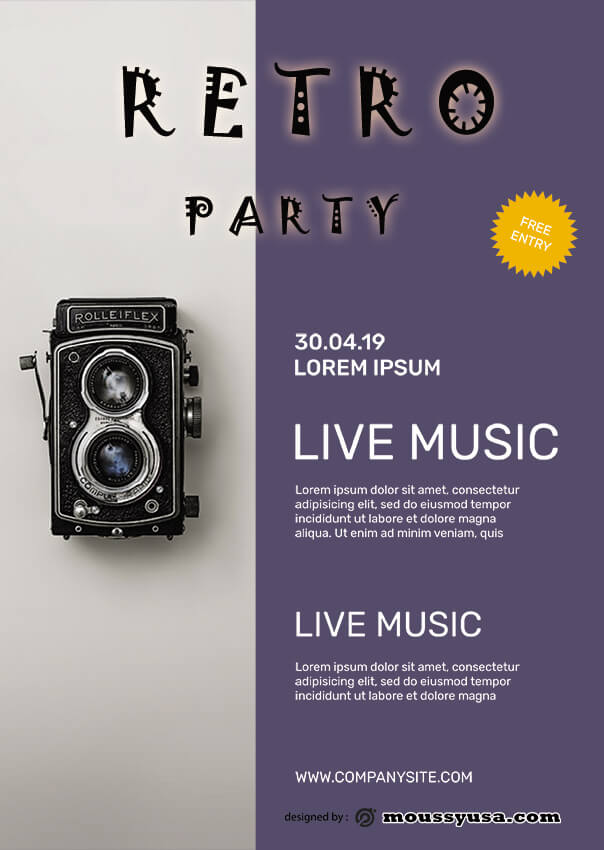 retro party flyer template ideas